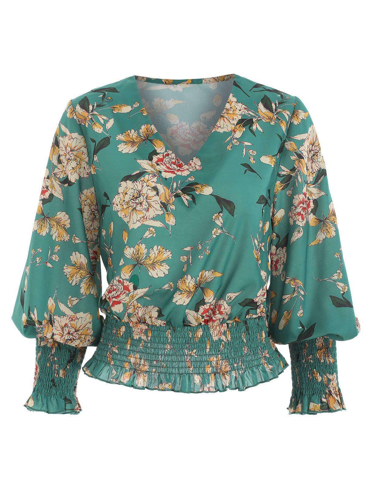 V Neck Floral Print Blouse - GREENISH BLUE XL