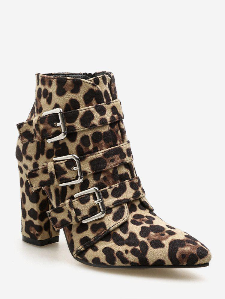Snake and Leopard Print Pointed Toe Boots - LEOPARD EU 38