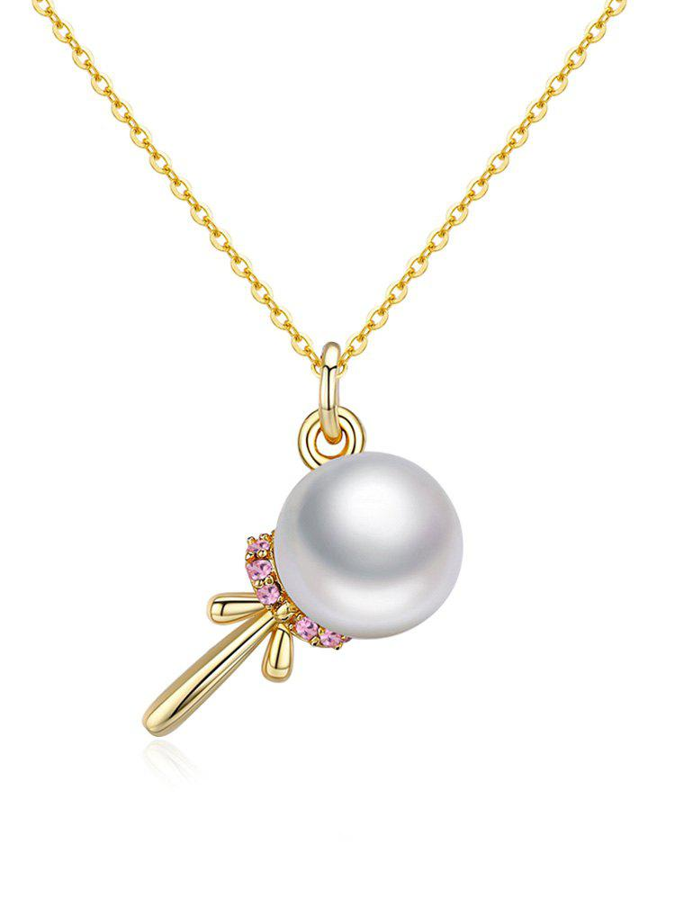 Stylish Faux Pearl Silver Pendant Necklace - WHITE
