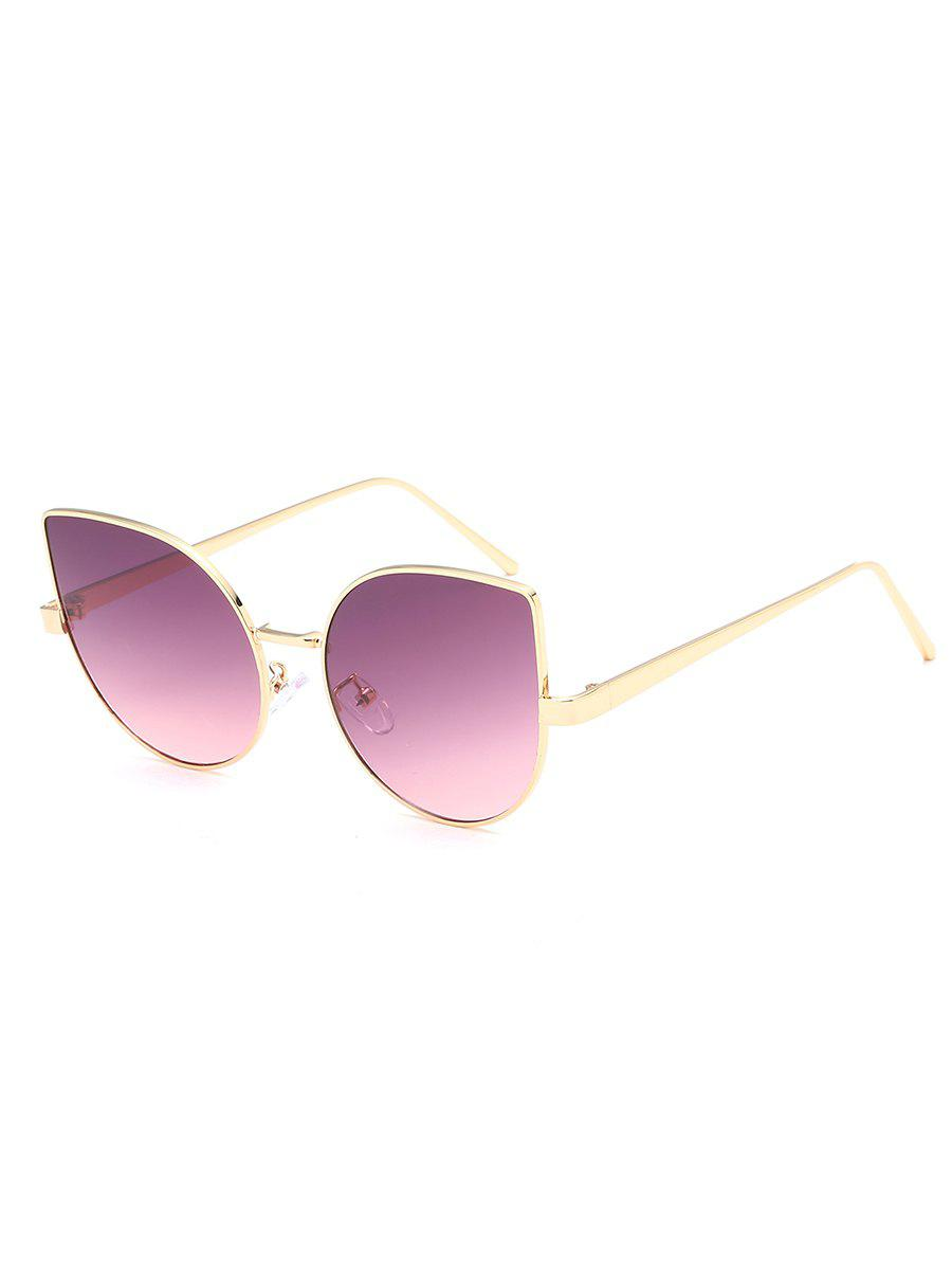 Vintage Metal Frame Flat Lens Catty Sunglasses - PALE VIOLET RED