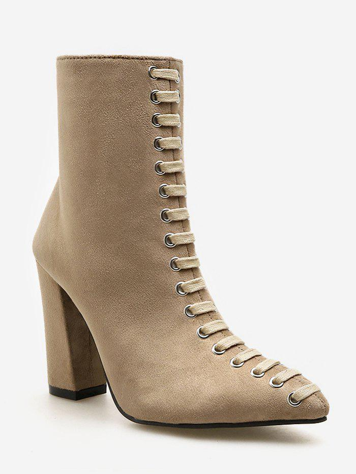 Lace Decorative Chunky Heel Short Boots - TAN EU 39