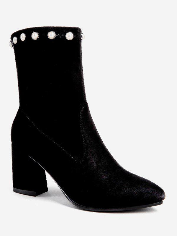 Faux Pearl Pointed Toe Short Boots - BLACK EU 38