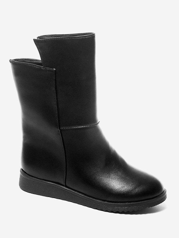 Solid Color PU Leather Flat Mid Calf Boots - BLACK EU 36