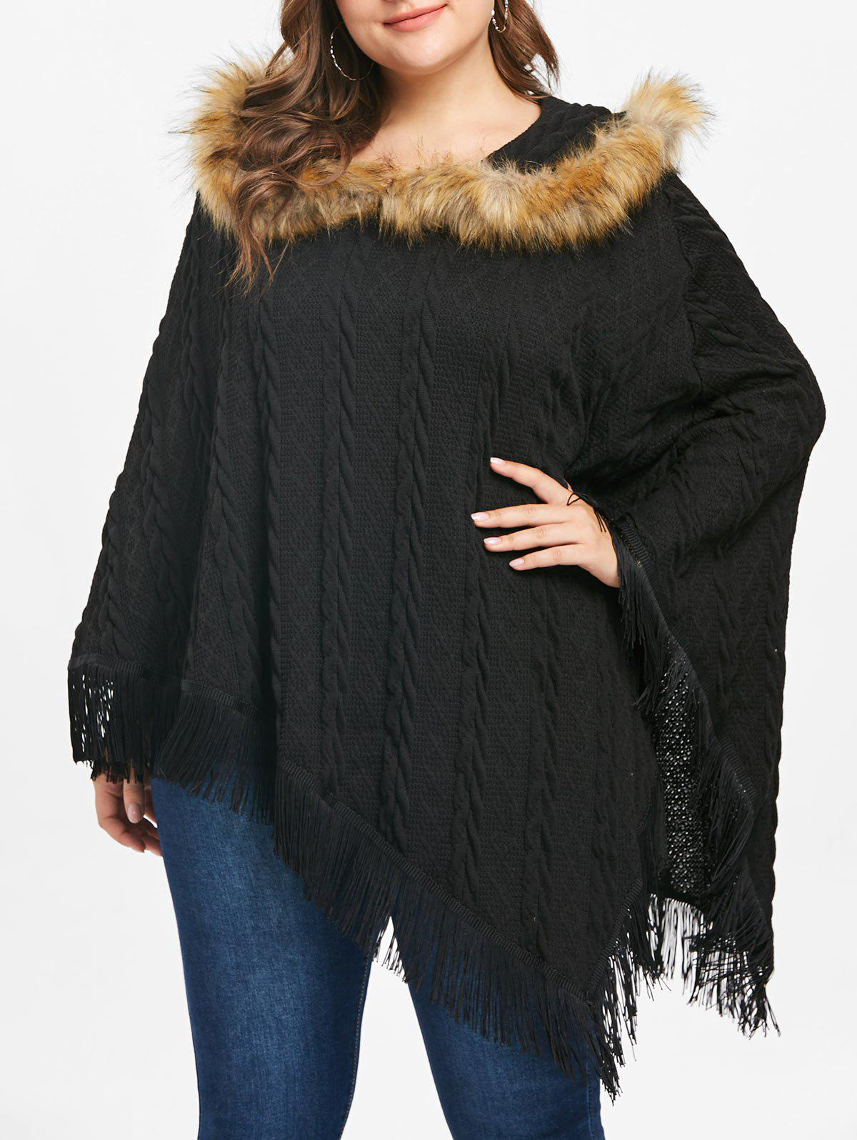 Plus Size Asymmetrical Fringe Poncho Sweater