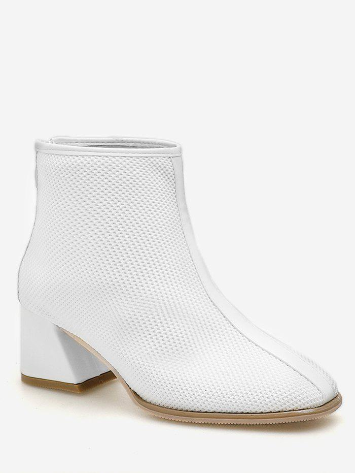 Knit Mesh Pointed Toe Ankle Boots - WHITE EU 36