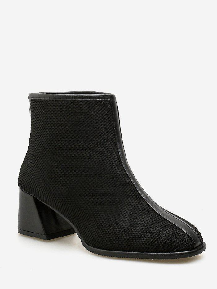 Knit Mesh Pointed Toe Ankle Boots - BLACK EU 35