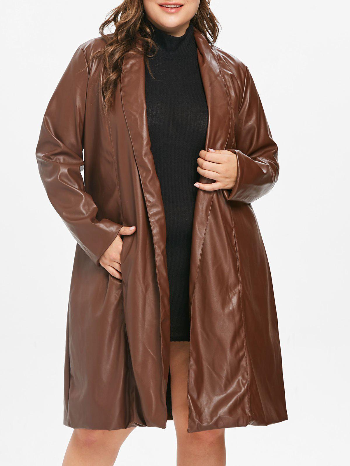 Plus Size Faux Leather Long Coat - PUCE L