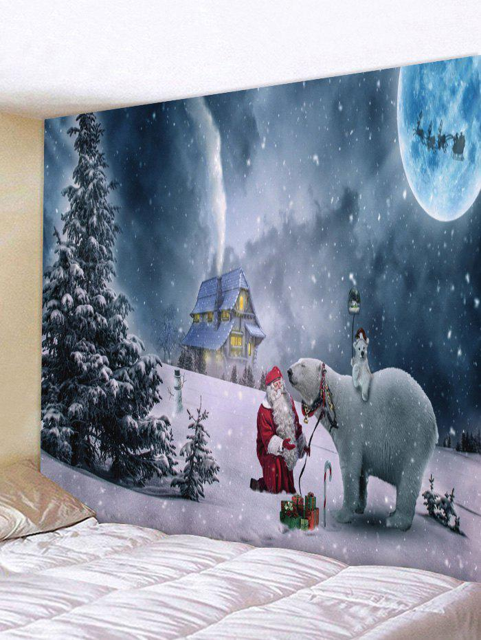 Christmas Night Bear Print Tapestry Wall Art - multicolor W79 X L59 INCH