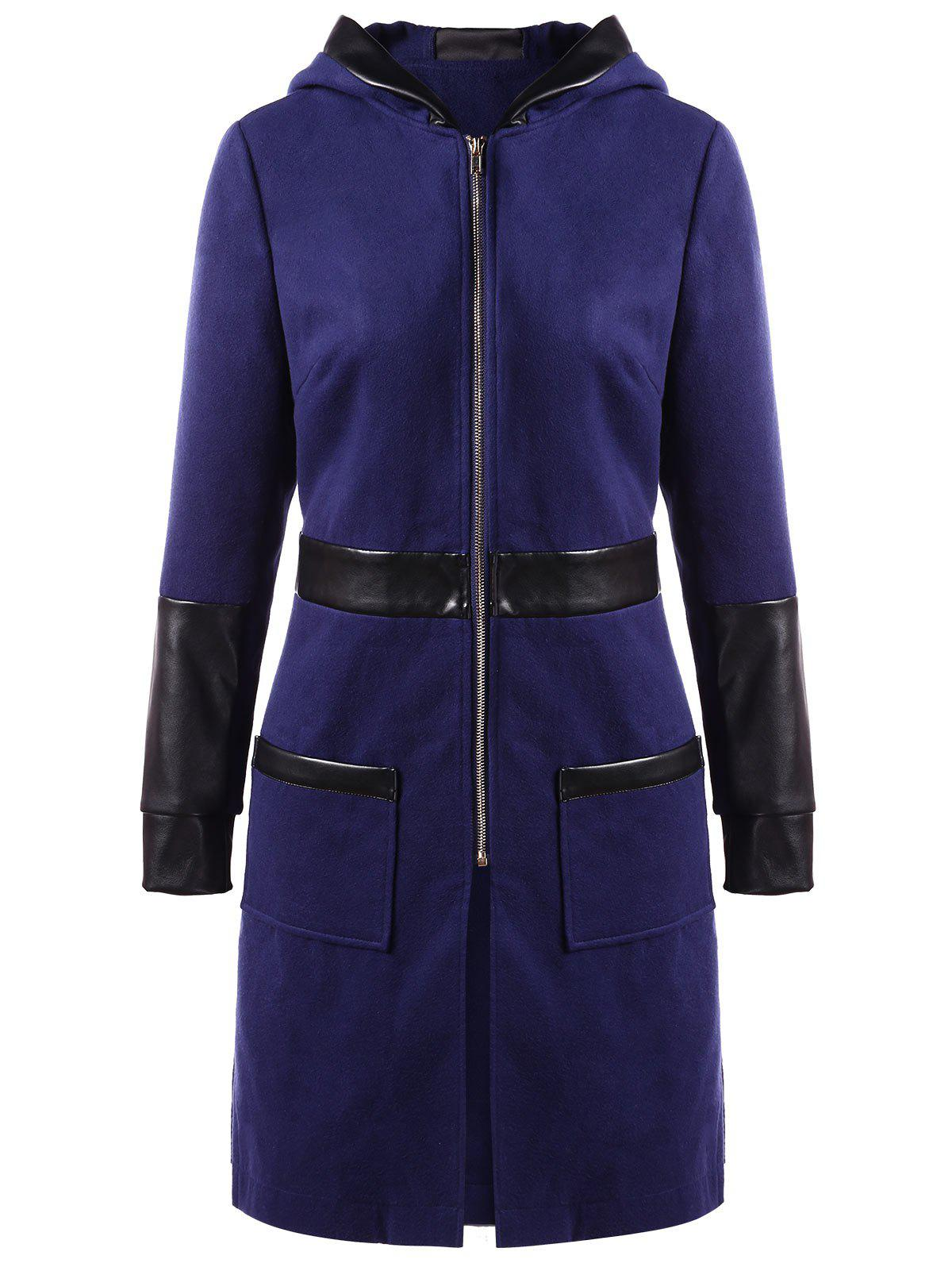 PU Leather Panel Zipper Hooded Coat - DEEP BLUE L