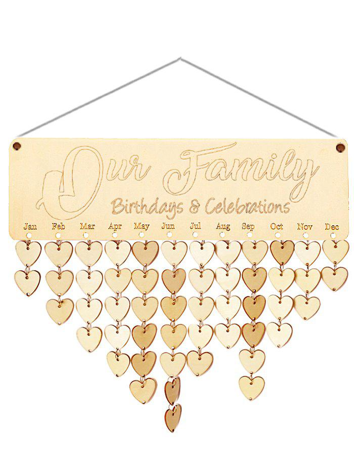 Wooden Our Family Calendar Board - BURLYWOOD HEART