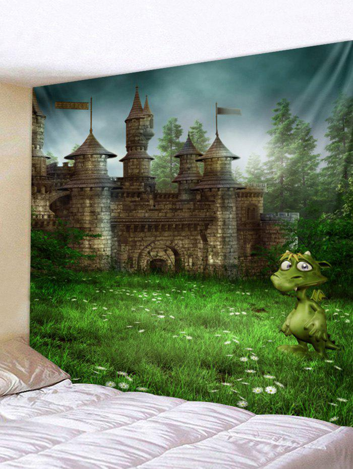 Forest Castle Pattern Wall Tapestry Art Decoration - GREEN W79 X L71 INCH