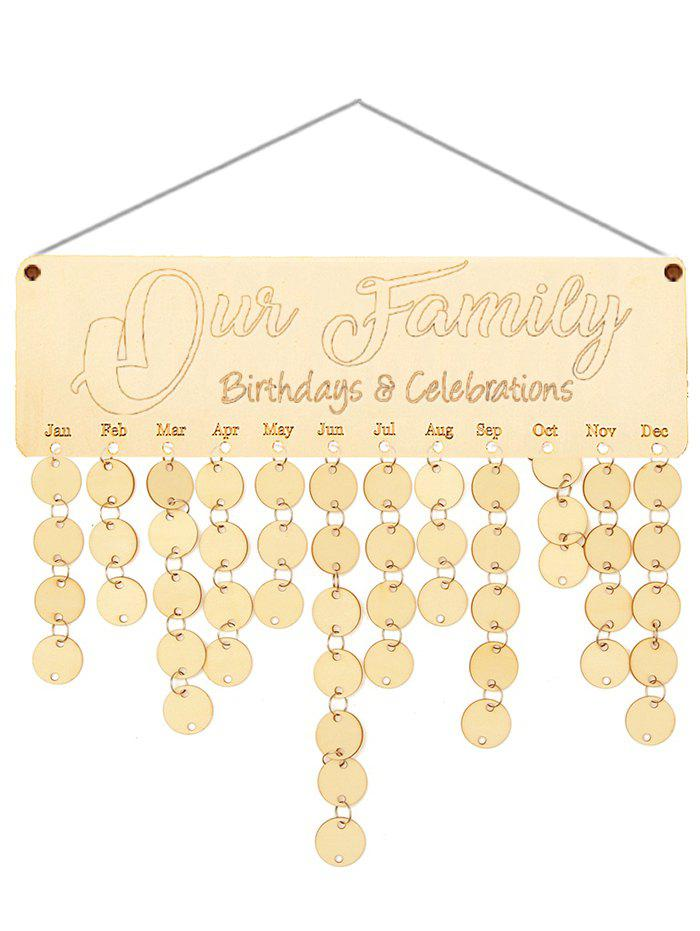 Wooden Our Family Calendar Board - BURLYWOOD ROUND