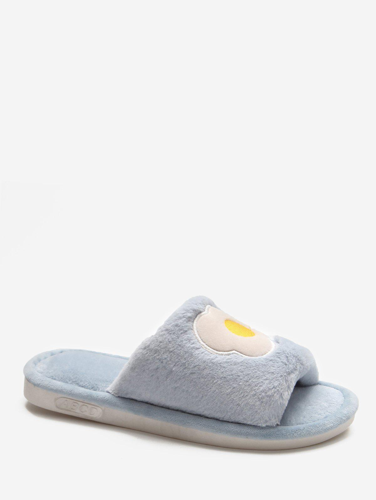 Cartoon Fruit Winter Fluffy Slippers - BLUE EU 40