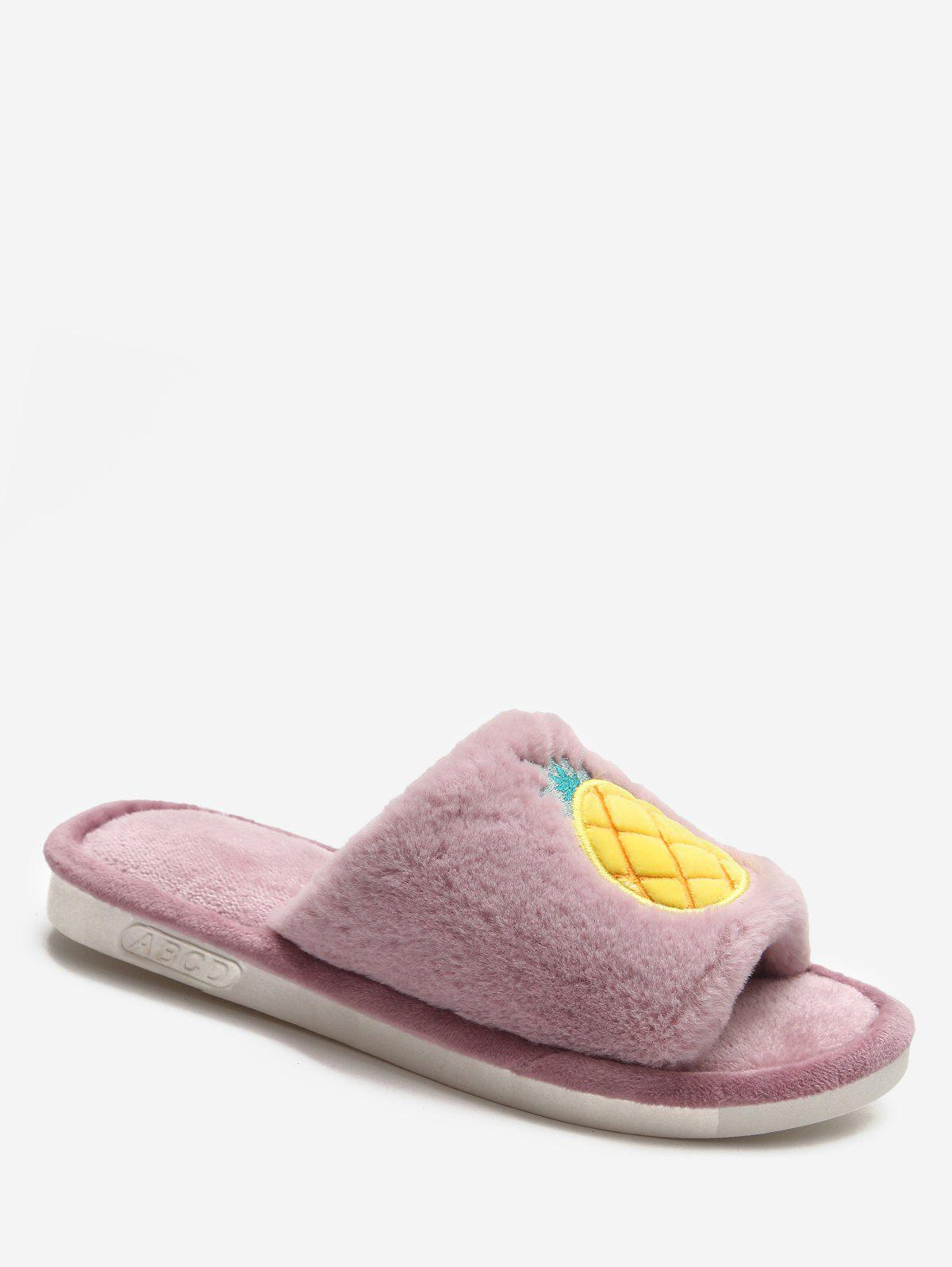 Cartoon Fruit Winter Fluffy Slippers - MAUVE EU 39