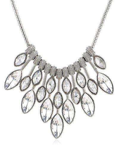 Maple Leaves Shaped Rhinestone Elegant Necklace - WHITE