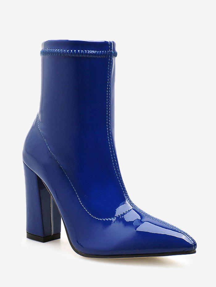 Pointed Toe Patent Leather Short Boots - COBALT BLUE EU 38