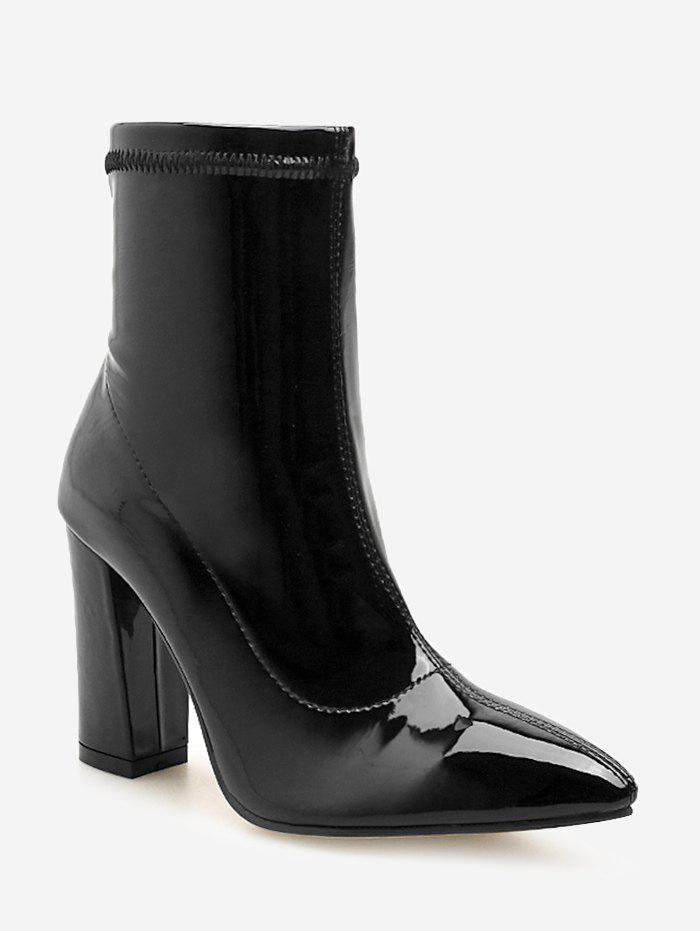 Pointed Toe Patent Leather Short Boots - BLACK EU 38