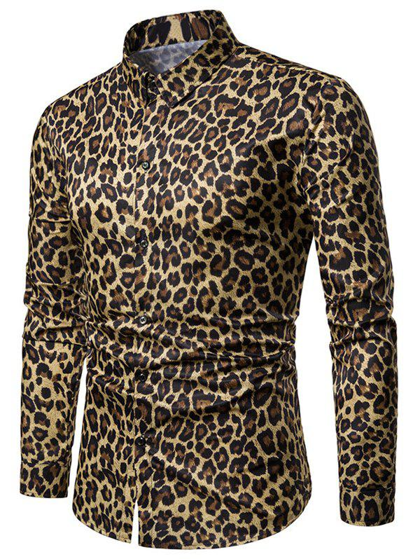 Button Up Leopard Print Shirt - YELLOW M