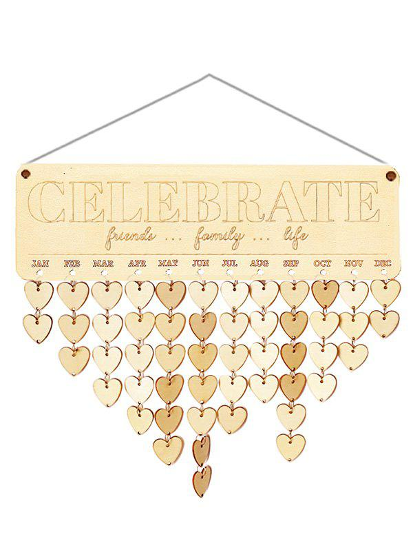 Wooden Friends Family Life Calendar Board - BURLYWOOD HEART