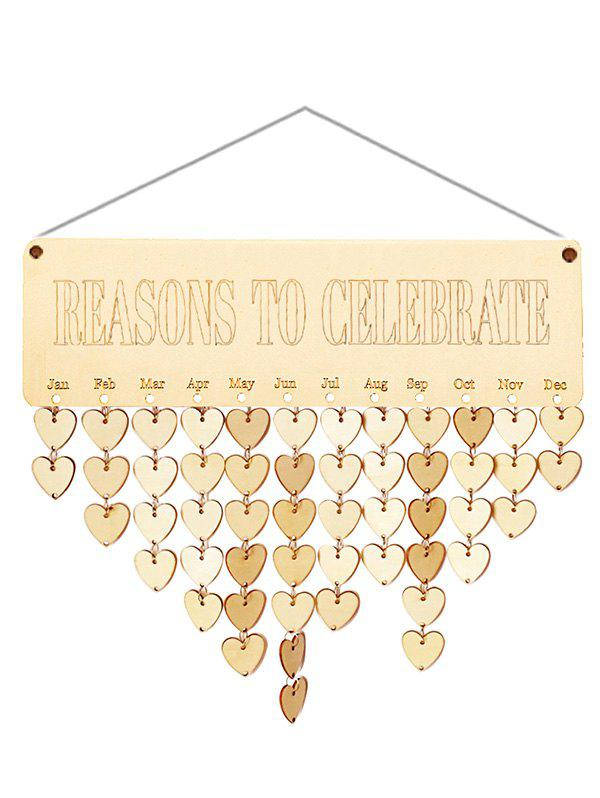 Wooden Reasons to Celebrate Calendar Reminder - BURLYWOOD HEART