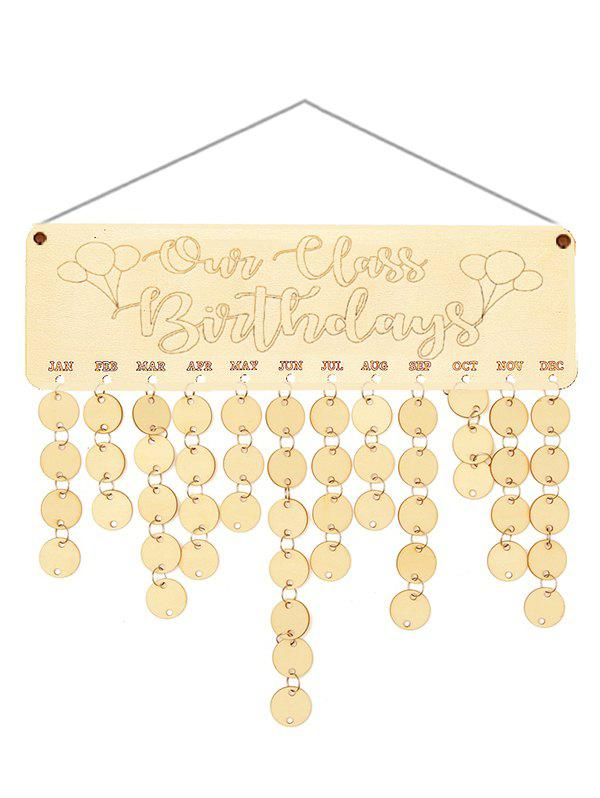 Wooden Our Class Birthday Calendar Board - BURLYWOOD ROUND