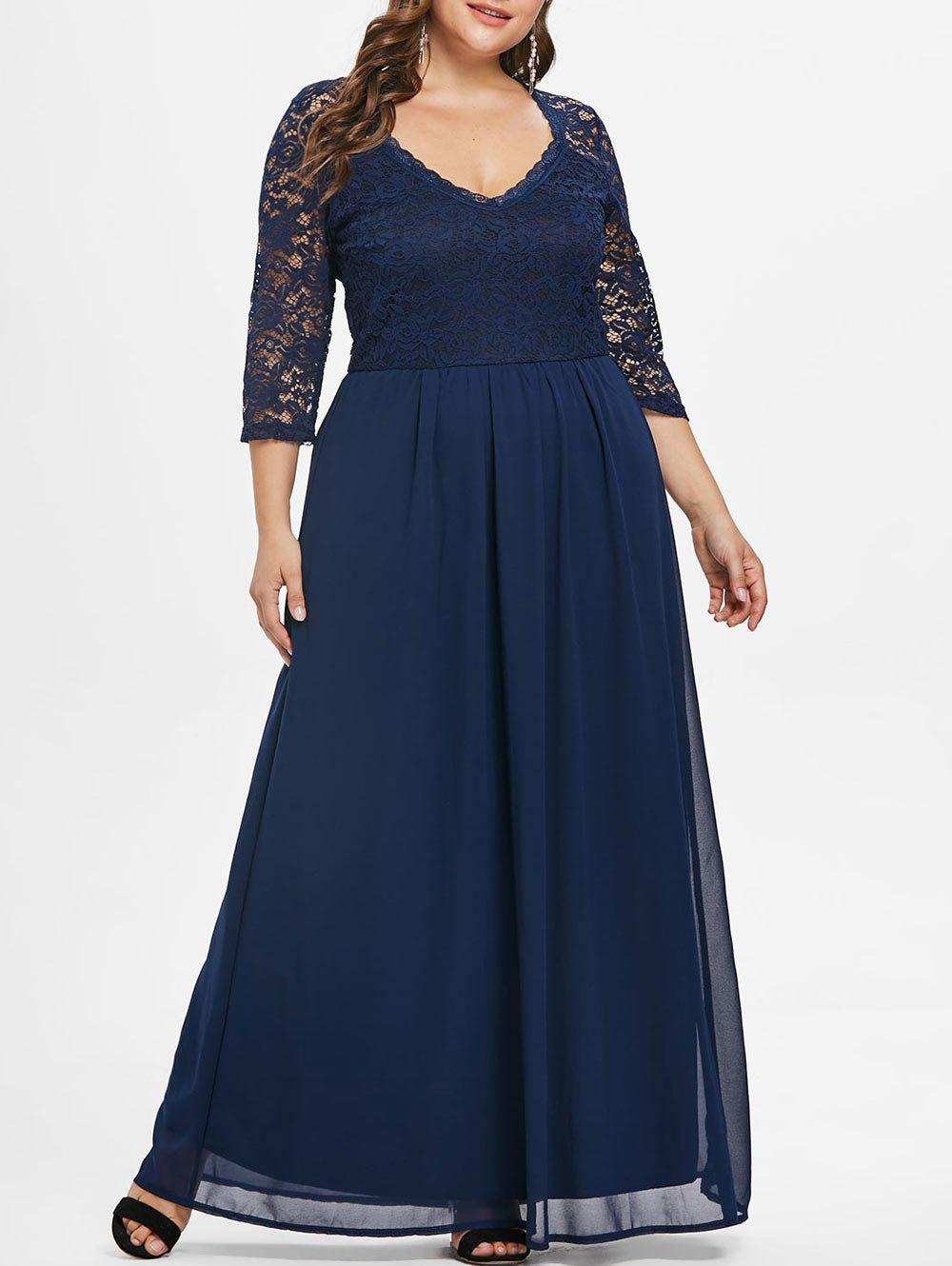 Lace Sleeve Plus Size Sweetheart Neck Maxi Dress - CADETBLUE 4X