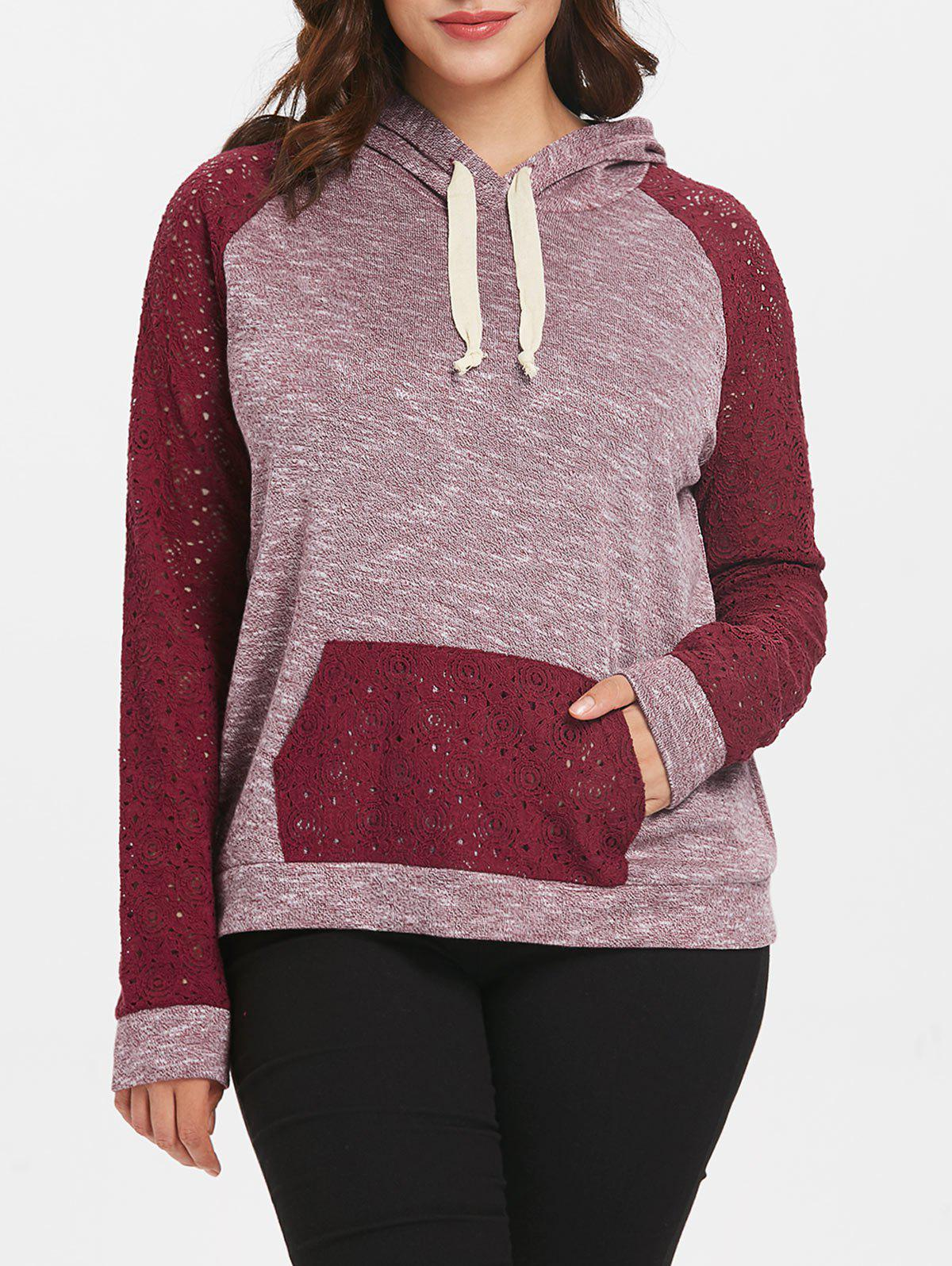 Drawstring Lace Raglan Sleeve Plus Size Hoodie - RED WINE 1X