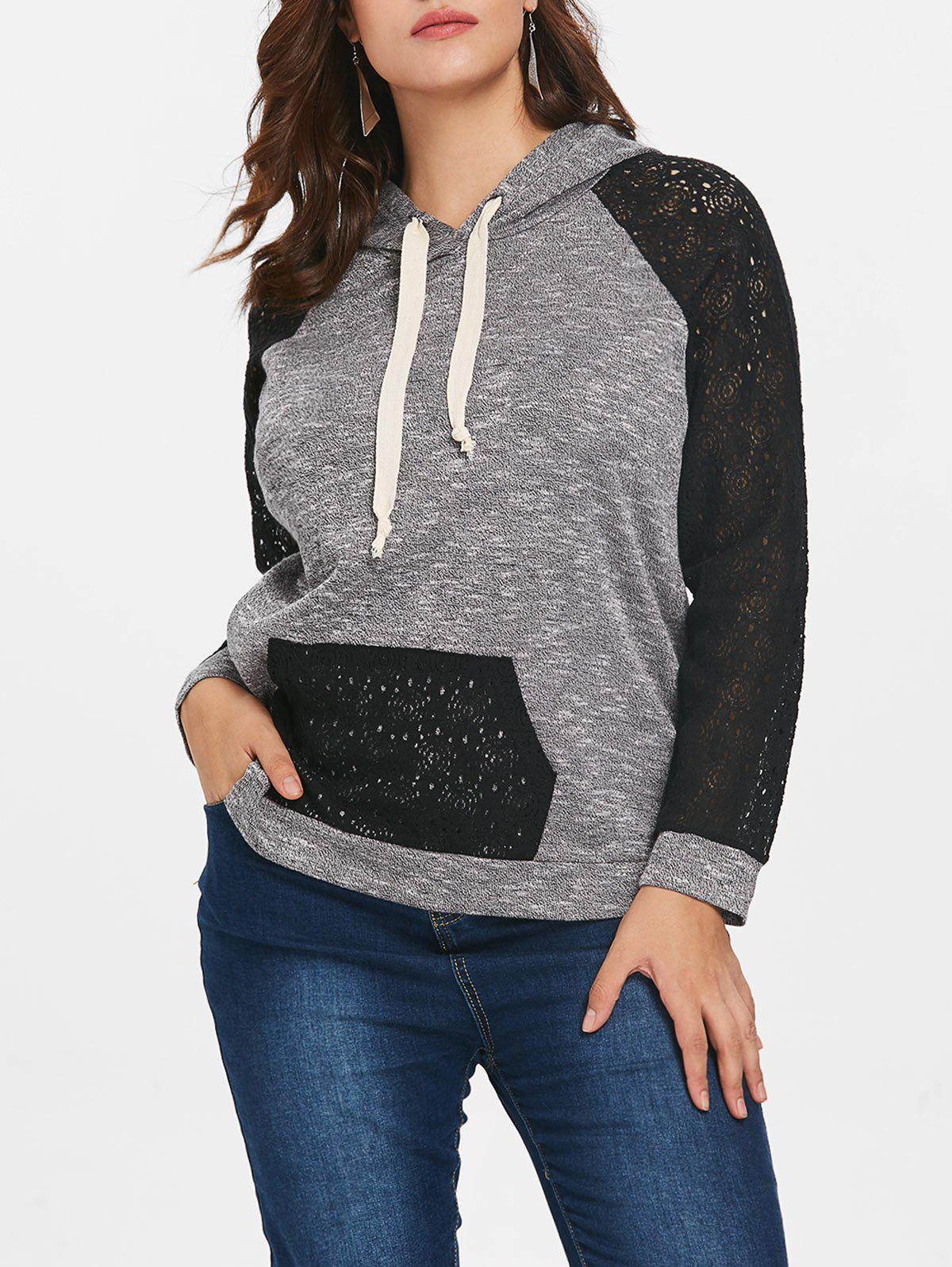 Drawstring Lace Raglan Sleeve Plus Size Hoodie - BLACK L