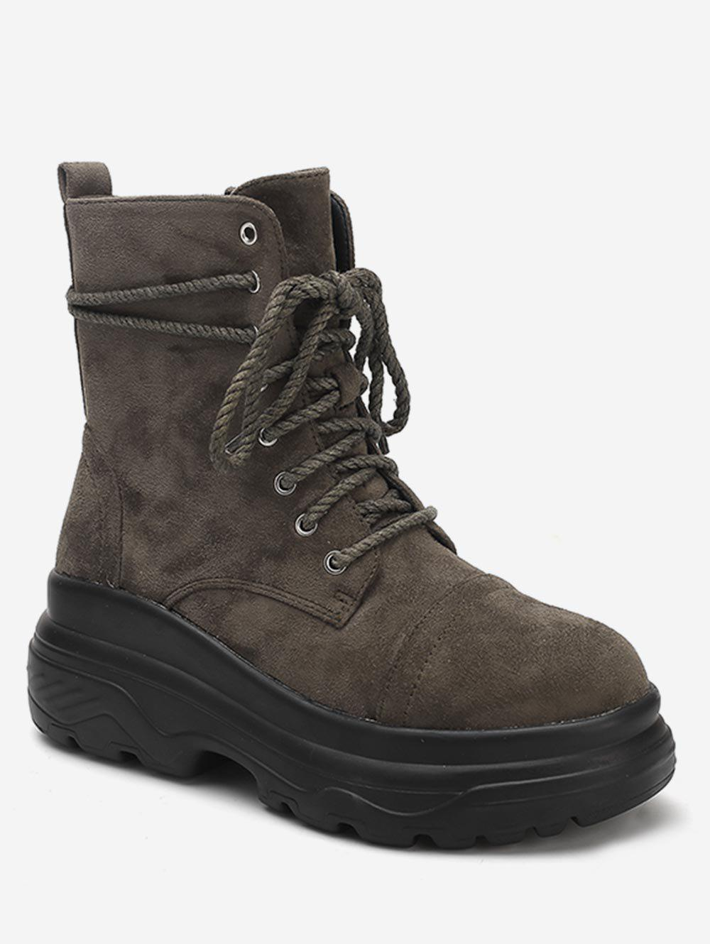 Lace Up Platform Suede Ankle Combat Boots - ARMY GREEN EU 38