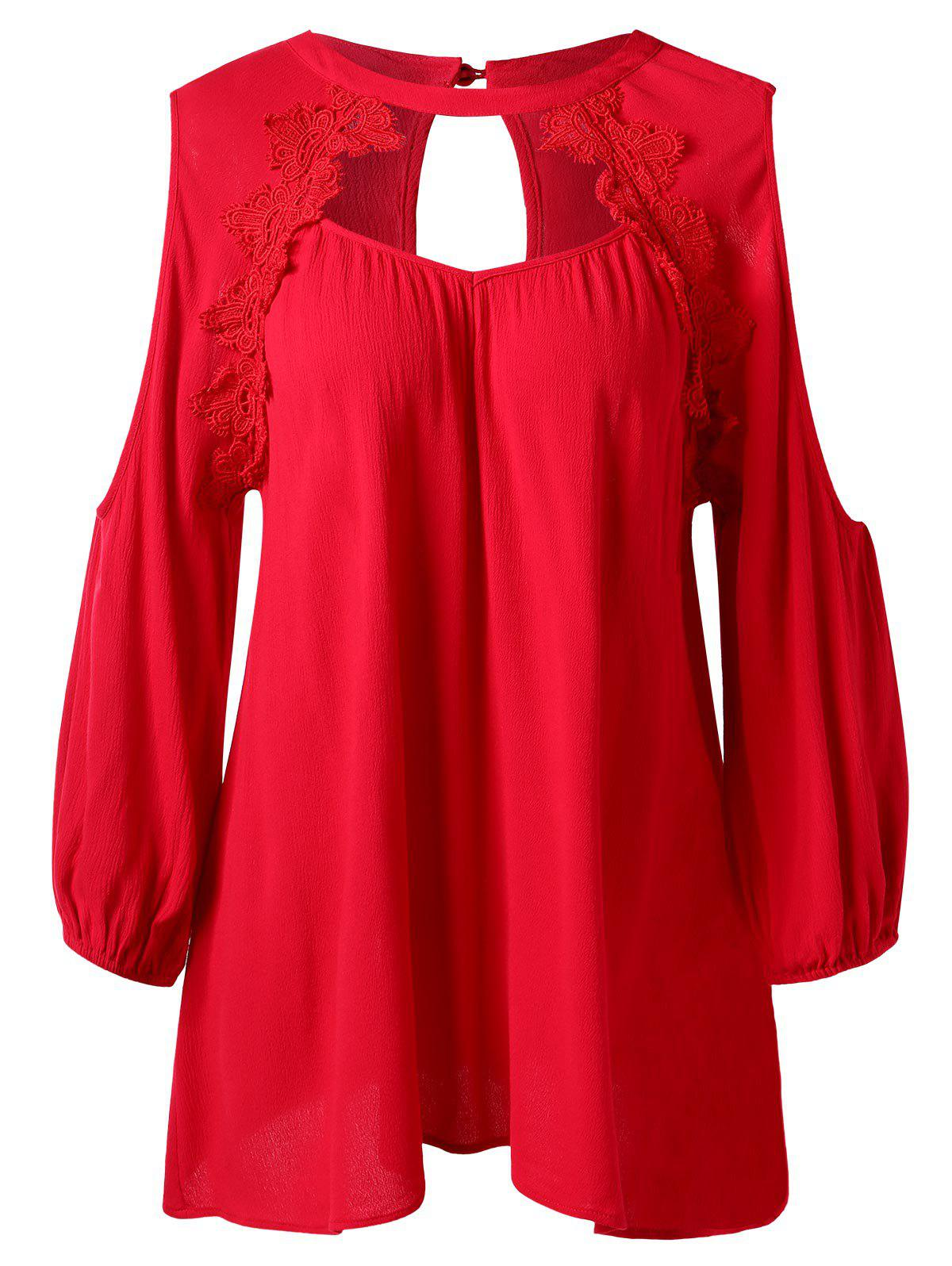 Cut Out Eyelash Lace Cold Shoulder Blouse - RED M