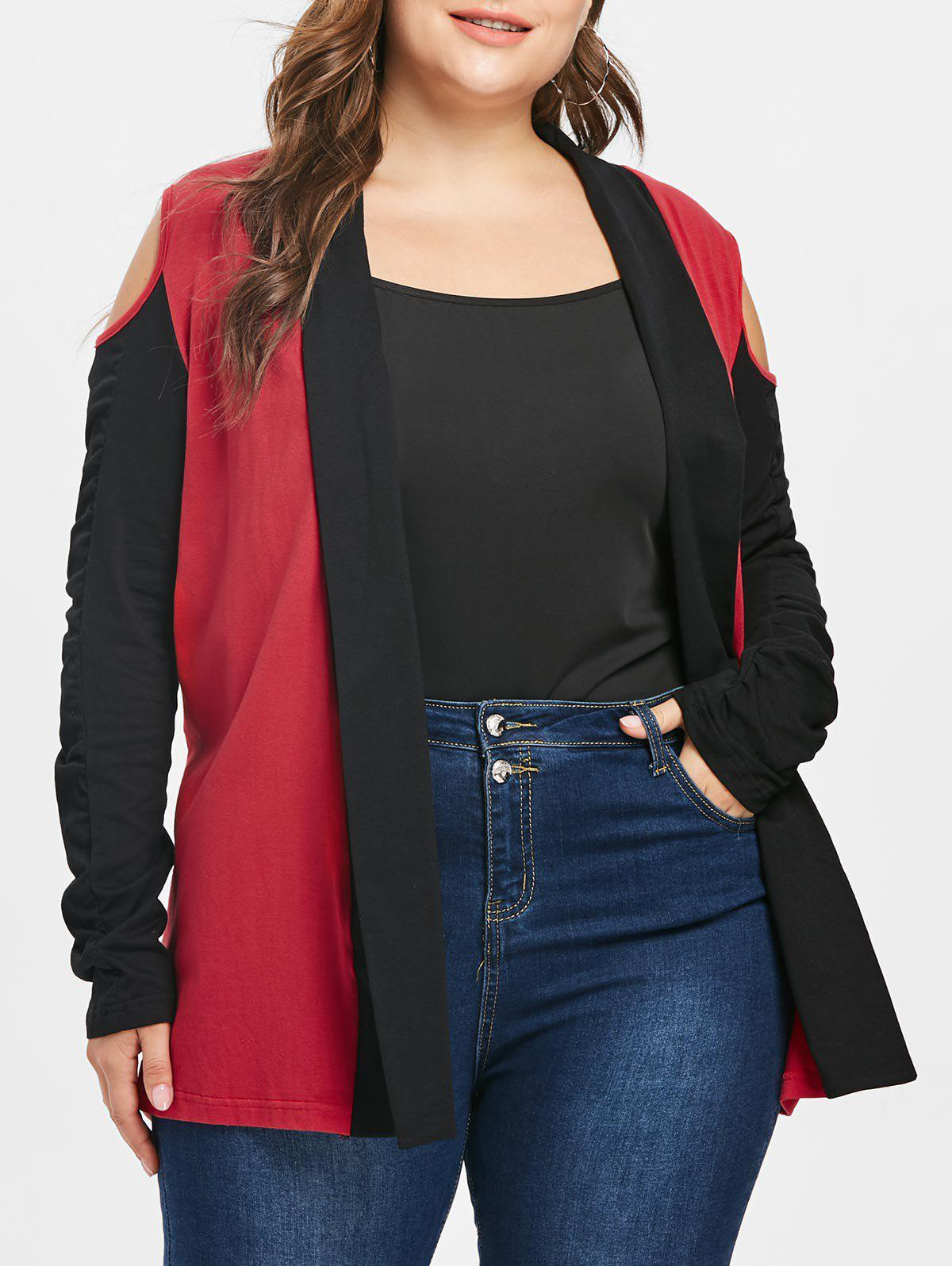 Plus Size Color Block Open Shoulder Jacket - RED L