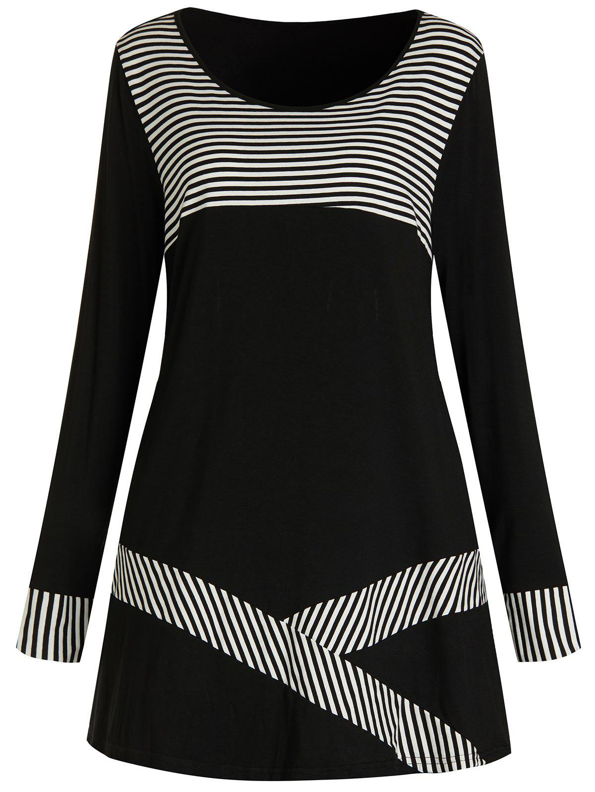 Plus Size Scoop Neck Long Sleeves Striped Spliced Tee