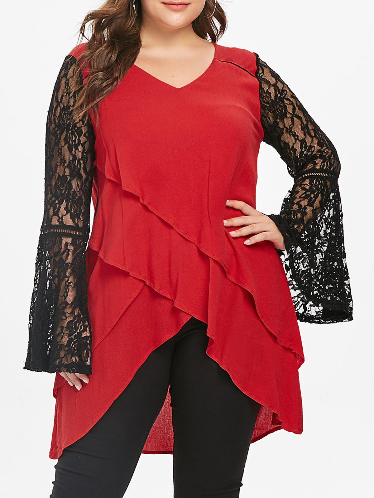 Plus Size Lace Panel Layered Blouse - RED 1X