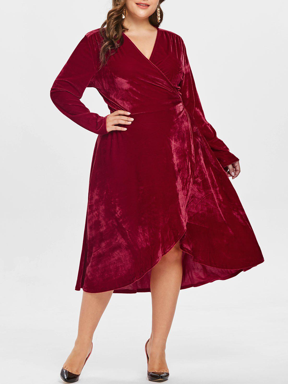 Plus Size Velvet Midi Wrap Dress - RED WINE 2X