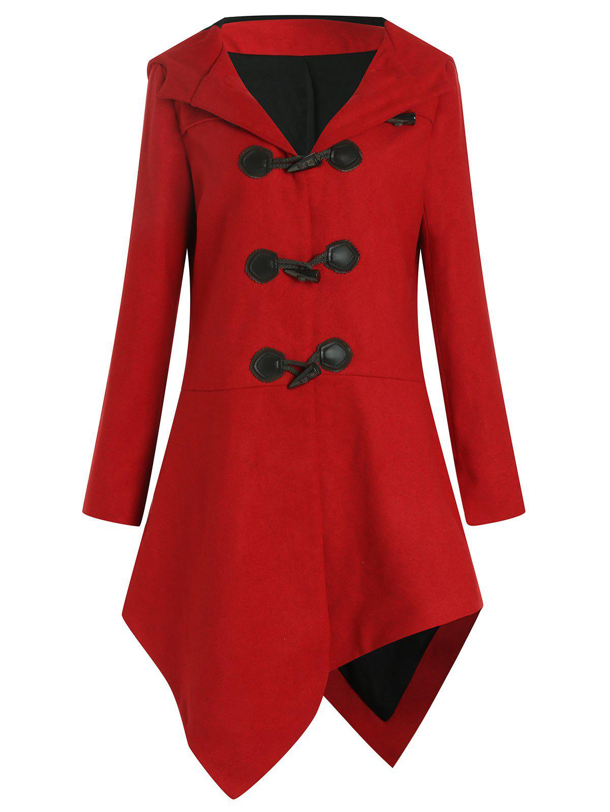 Asymmetric Duffle Coat With Hoodie - RED XL