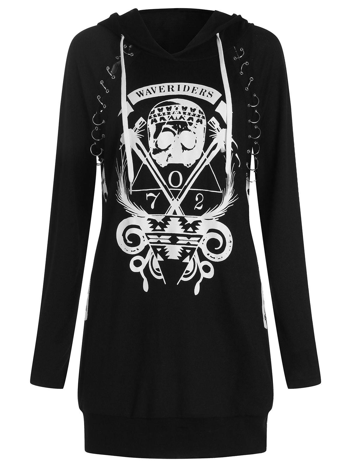 Skulls Graphic Pullover Hoodie with Becket - BLACK M