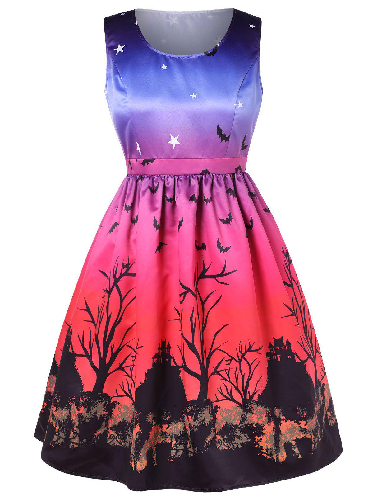 Plus Size Halloween Bat and Star Print A Line Dress, Multi