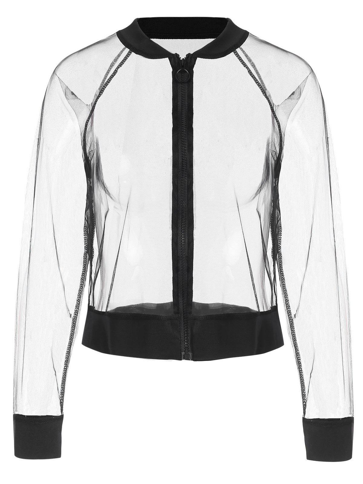 Zip Up Sheer Mesh Jacket - Noir L
