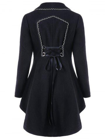 Asymmetric Longline Coat with Lace Up