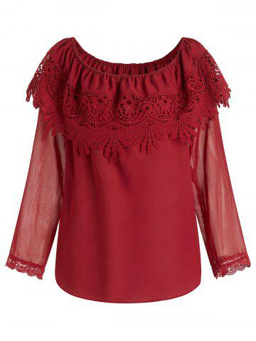 Plus Size Long Sleeves Off Shoulder Layered Chiffon Blouse
