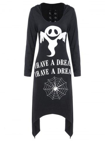 Asymmetric Lace Up Graphic Halloween Longline Hoodie