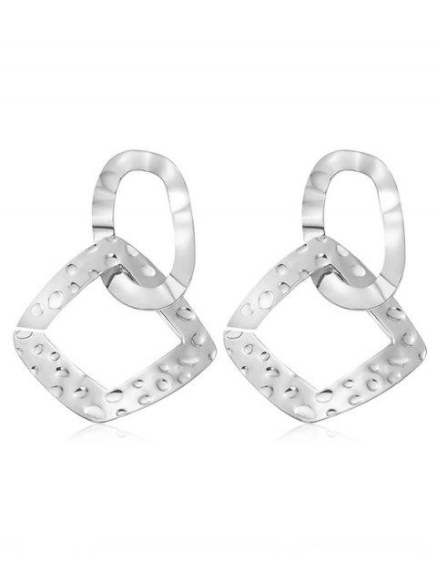 Irregular Geometric Shape Metal Hollow Earrings - SILVER