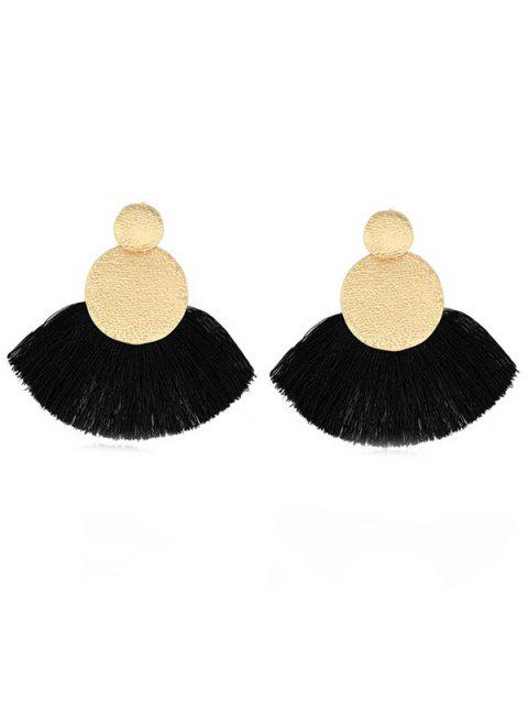 Round Shape Tassel Earrings - BLACK