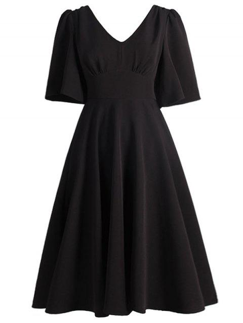 Plus Size Flutter Sleeve Vintage Dress - BLACK 1X