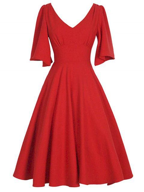 Plus Size Flutter Sleeve Vintage Dress - RED 4X