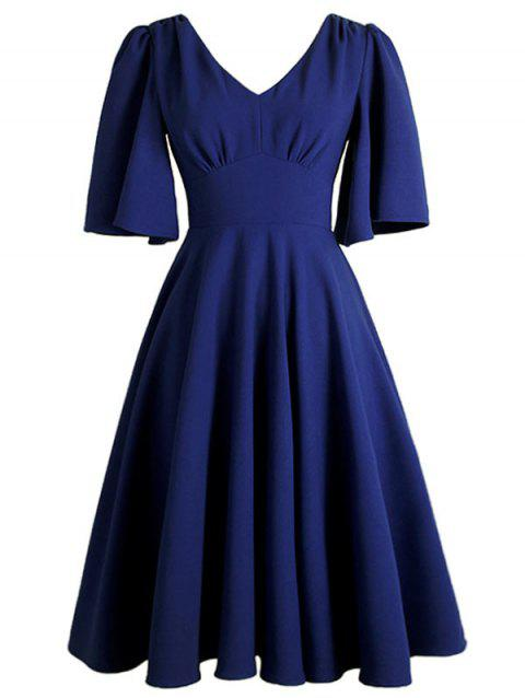 Plus Size Flutter Sleeve Vintage Dress - CADETBLUE 2X