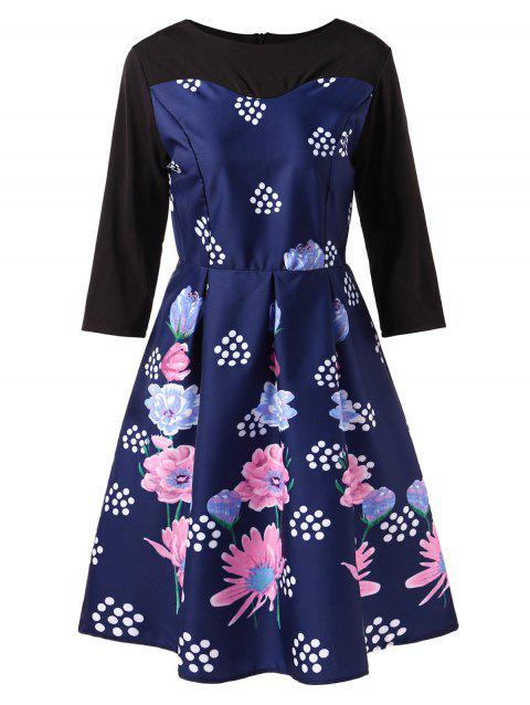 Vintage Contrast Floral Print Swing Dress - DEEP BLUE 2XL