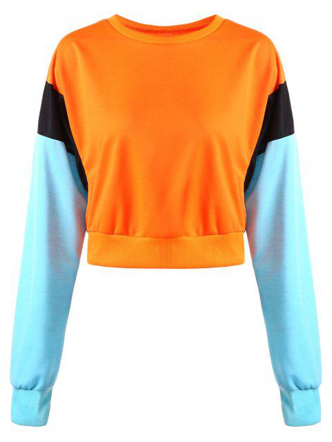 Contrast Cropped Sweatshirt - ORANGE S