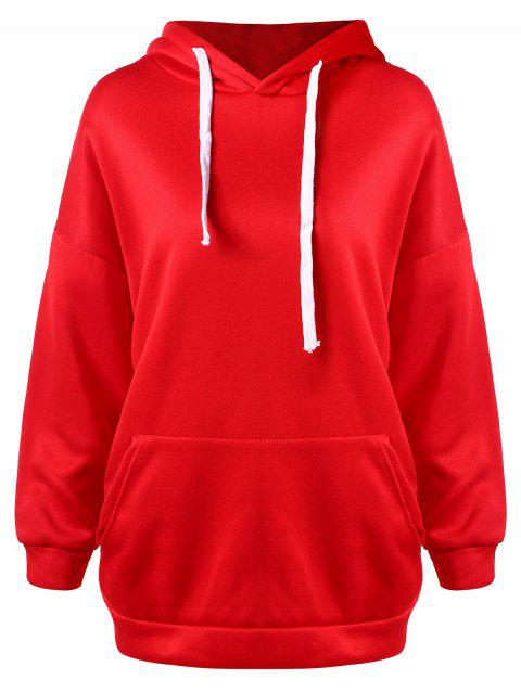 Drawstring Drop Shoulder Pullover Hoodie - LAVA RED S