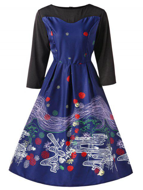 Retro Printed Fit and Flare Dress - DEEP BLUE 2XL